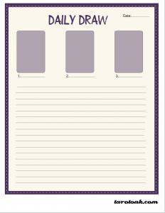 Free Printable Daily Draw Page for Tarot Journal