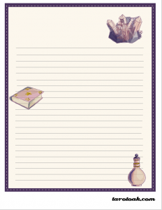 tarot stationery paper with lines