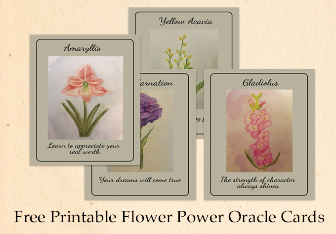 Free Printable Flower Power Oracle Cards