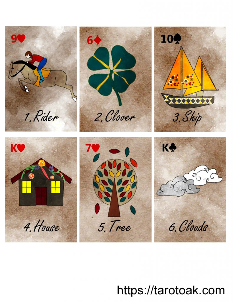 Free Printable Lenormand Cards Sheet 1